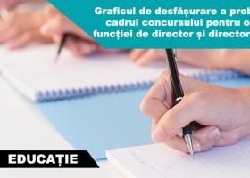 ISJ Neamţ: Graficul de desfășurare a probelor din cadrul concursului pentru ocuparea funcției de director și director adjunct